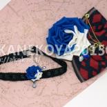 トランプ兵の塗り残したバラのコサージュとチョーカー 青 (2015.10) 成人式の振袖用のオーダー。