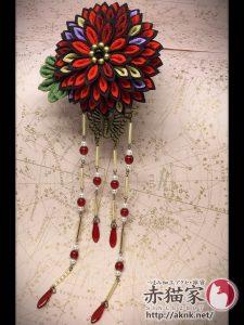 つまみ細工の大輪菊花+蝶さがりのかんざし