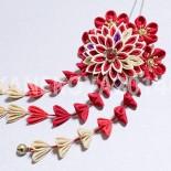 菊花と小花のMIXかんざし。下がりver。 アンティークゴールドで統一しました。幅約10cm、下がり約12cm。 (2013.12)