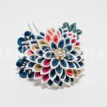 大輪菊花と小花の寄せかんざし(オーダー) 海色は人気があります。私も好きな色です。 (2014.01)