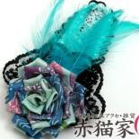 薔薇のヘッドコサージュ(2012年) 大きなスリーピン(ぱっちんどめ)タイプ。