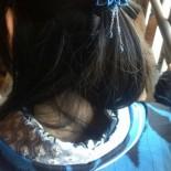【お客様着用画像】 型染め作家のすずしろさんが着けて来てくれてます♪ 髪を結んだゴムに小さいコームタイプのかんざしを挿してくれました。 羽織と色が同じーバッチリですね(*´∀`*)